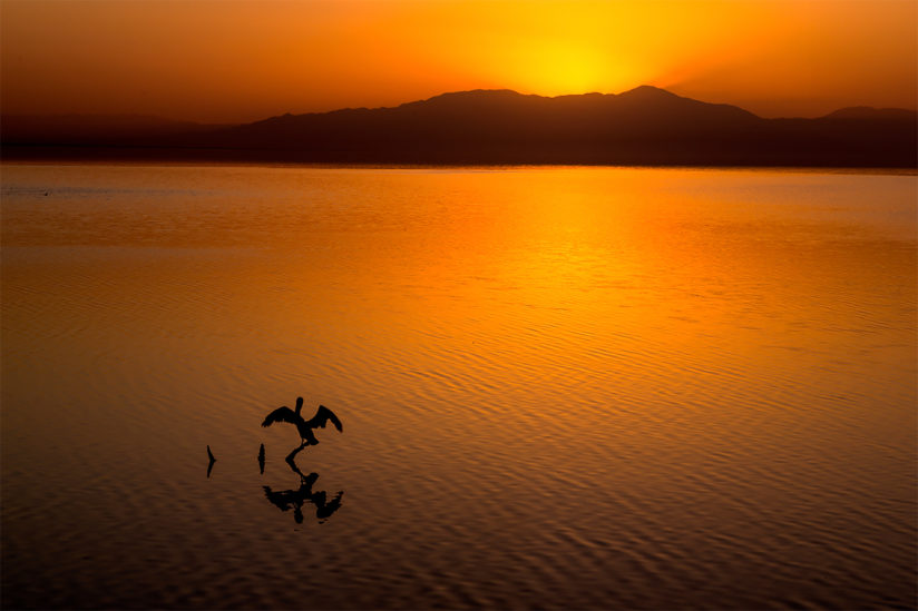 Sunset, Salton Sea, California