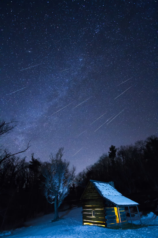 Geminids over Jesse Brown Cabin