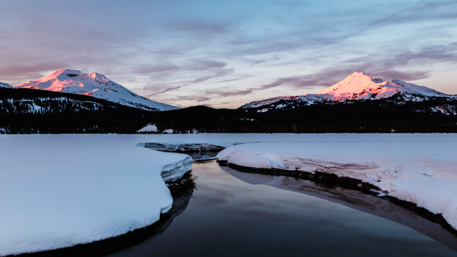 Broken Top, South Sister and Soda Creek in Snow
