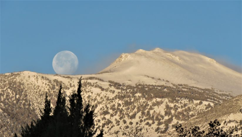 Snowy Mount Rose and Setting Moon