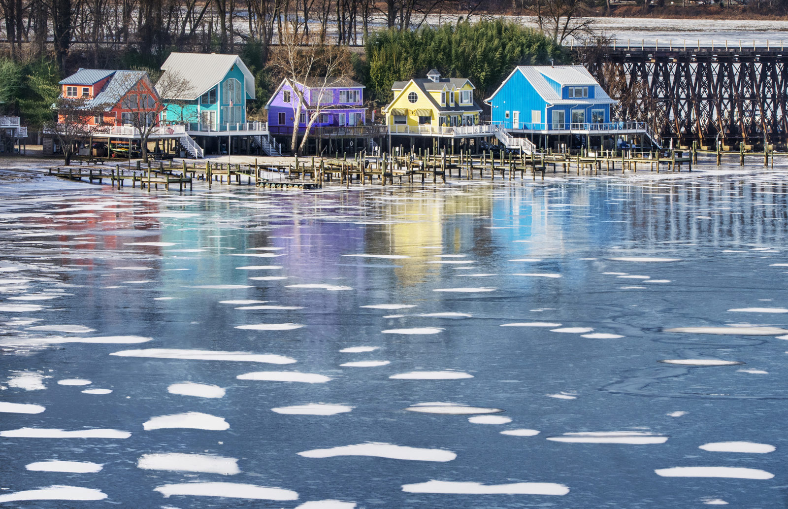 Colorful Homes on Frozen River