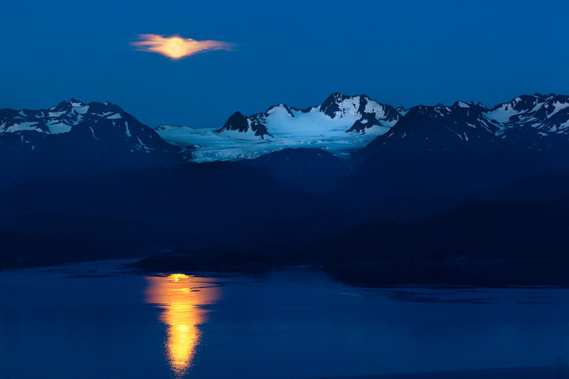 Blue Moon Over Dixon Glacier