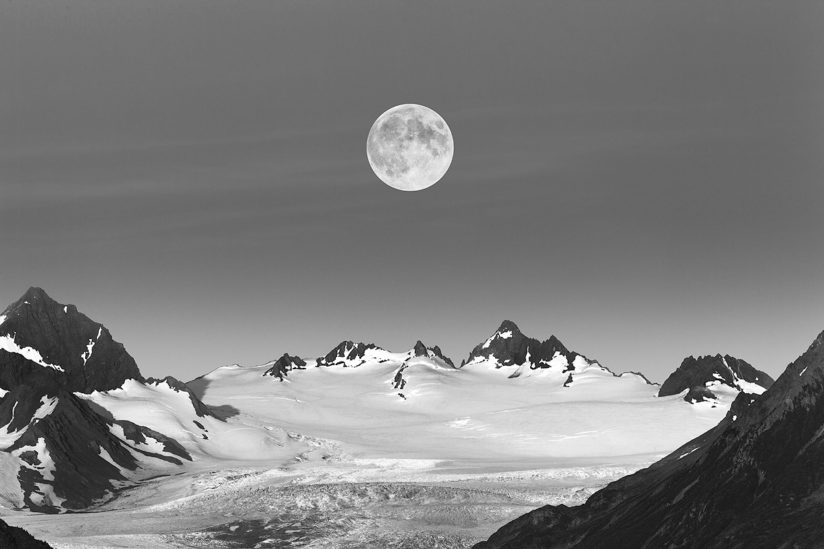 Moonrise over Grewingk Glacier