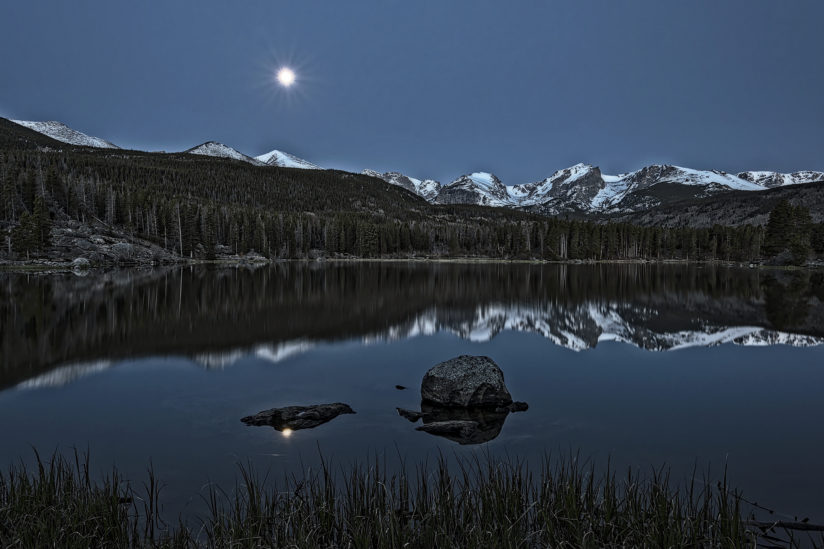 Moonset at Sprague Lake