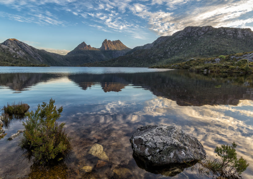 Setting sun on Cradle Mountain
