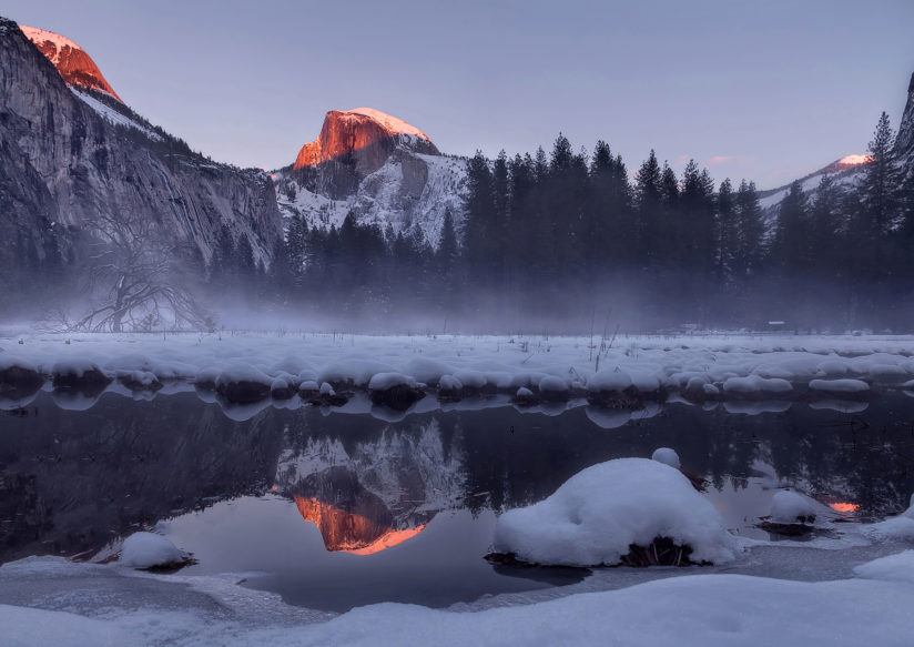 Half Dome – A winter sunset glow