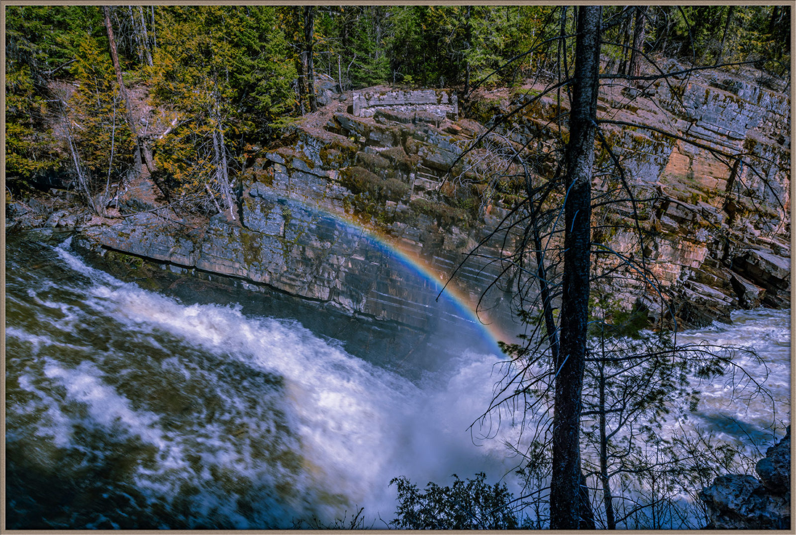 Yaak Falls with Rainbow