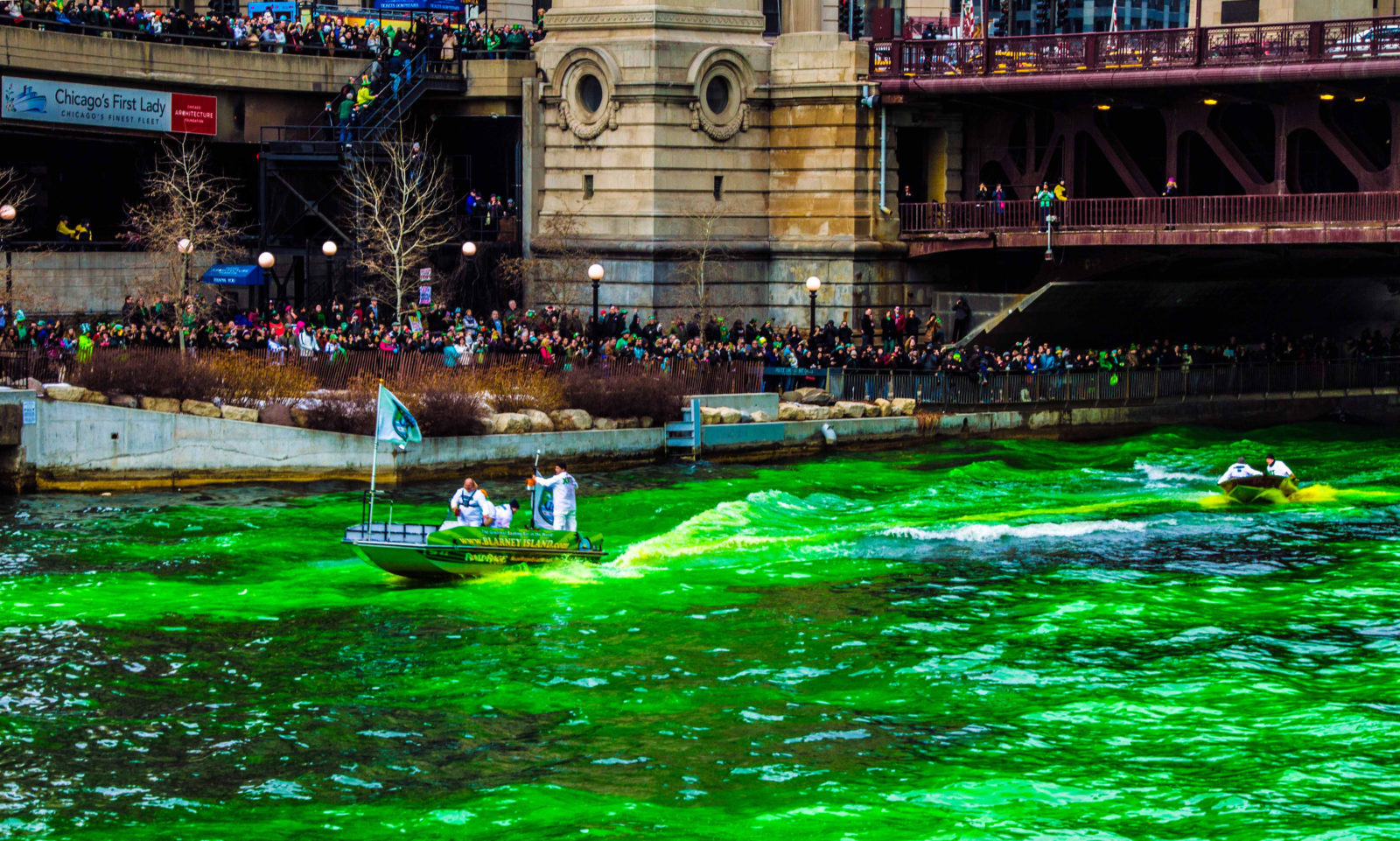 Dyeing the Chicago River on St. Patrick's Day