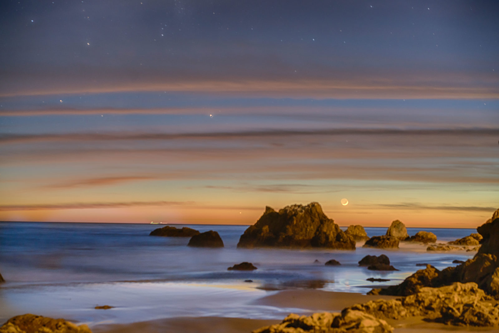 New Moon setting after Sunset at El Matador State Beach
