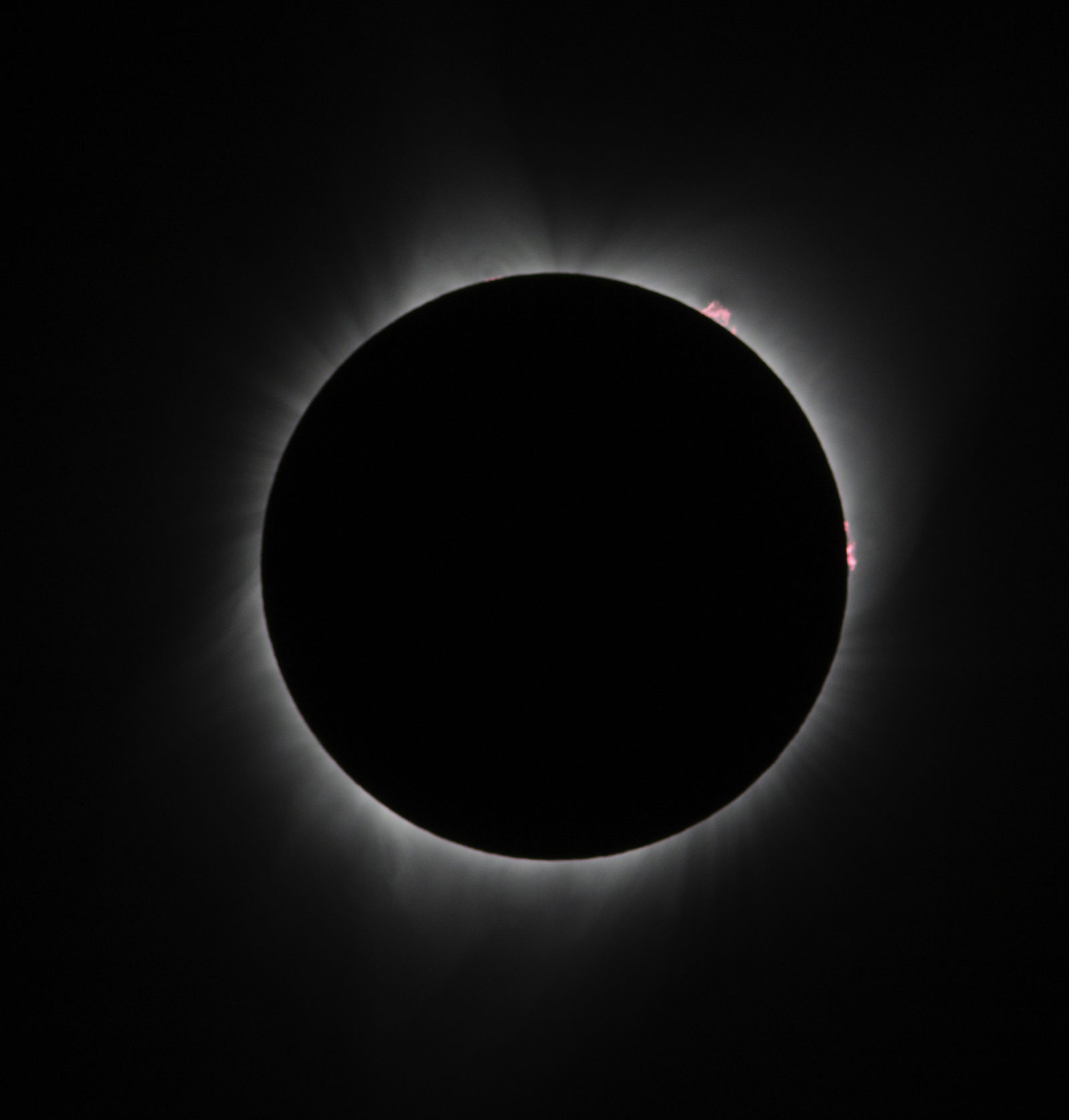Total solar eclipse with red solar flares