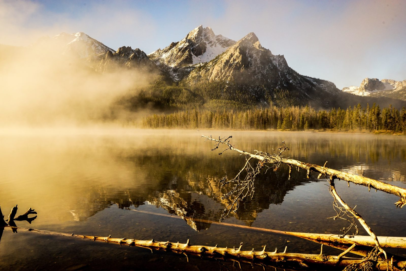 fog at sawtooth lake