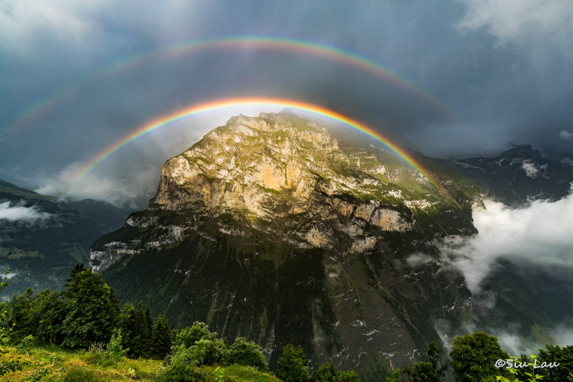 Mountain in a rainbow dome