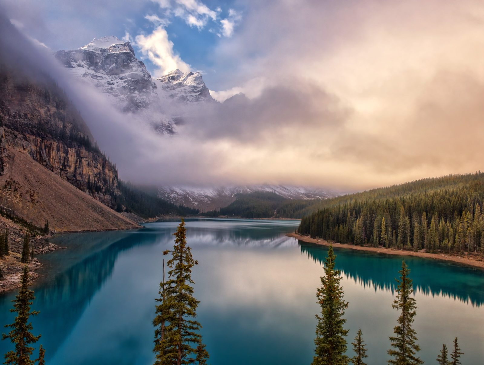 Foggy Sunrise at Moraine Lake