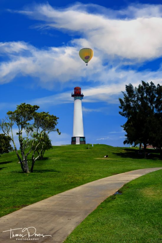 Light house with hot air balloon