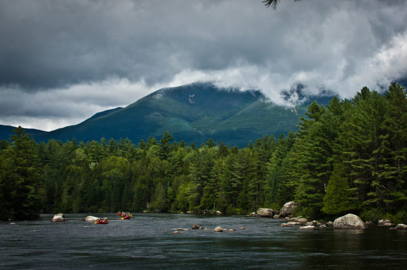 Rafters on the Penobscot River with Mt. Katahdin in background