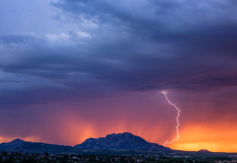 Sunset Lightning Over Granite Mountain