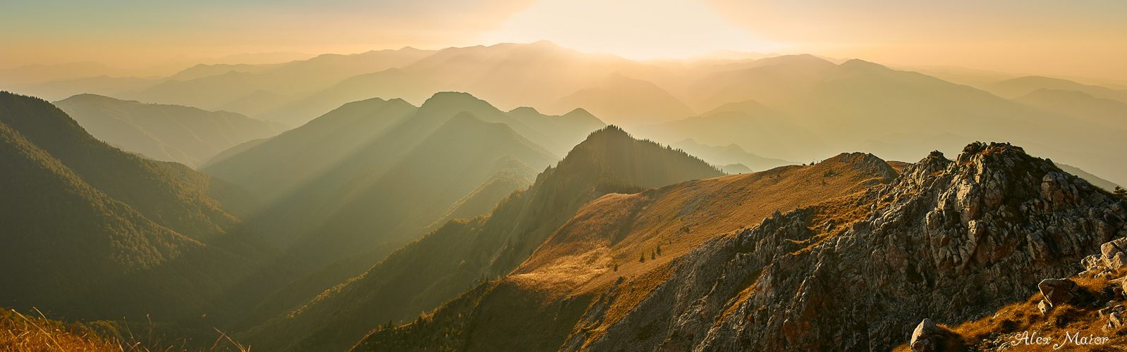 Sunset over the Carpathian mountains