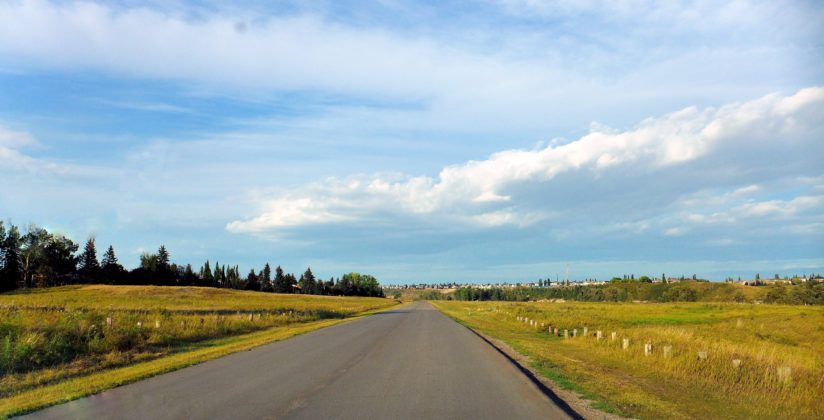 """Driving through the Fish Creek Prov. Park"""