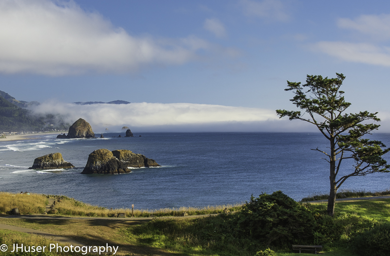 Cannon Beach and Haystack Rock from Ecola State Park in Oregon