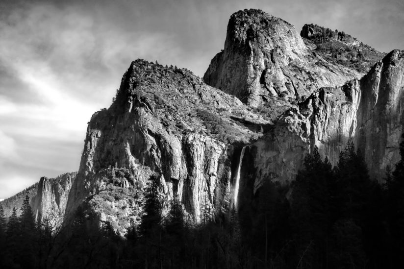 Cathedral Rocks and Bridalveil Falls
