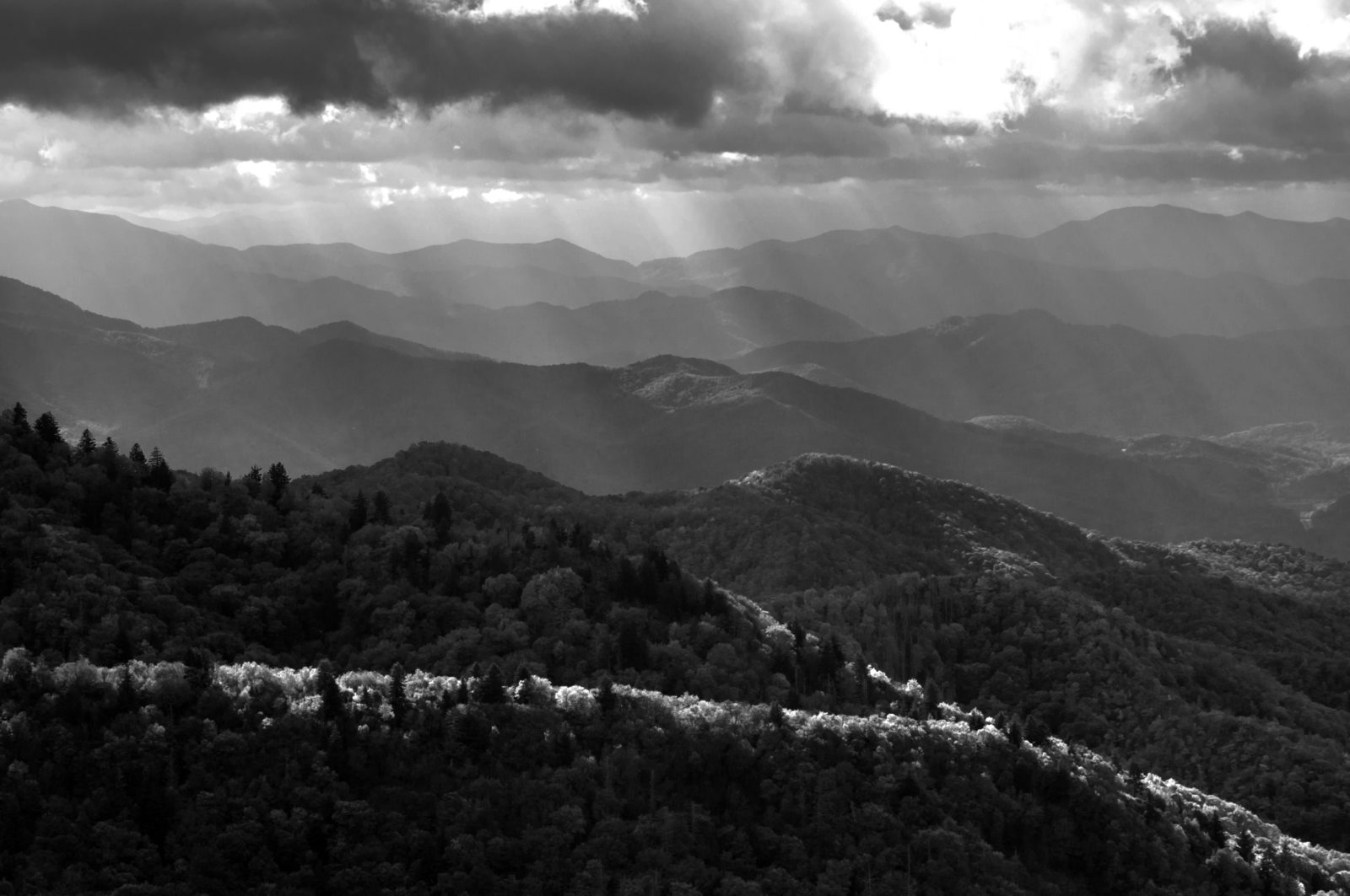 Dancing Light Over the Blue Ridge Mountains
