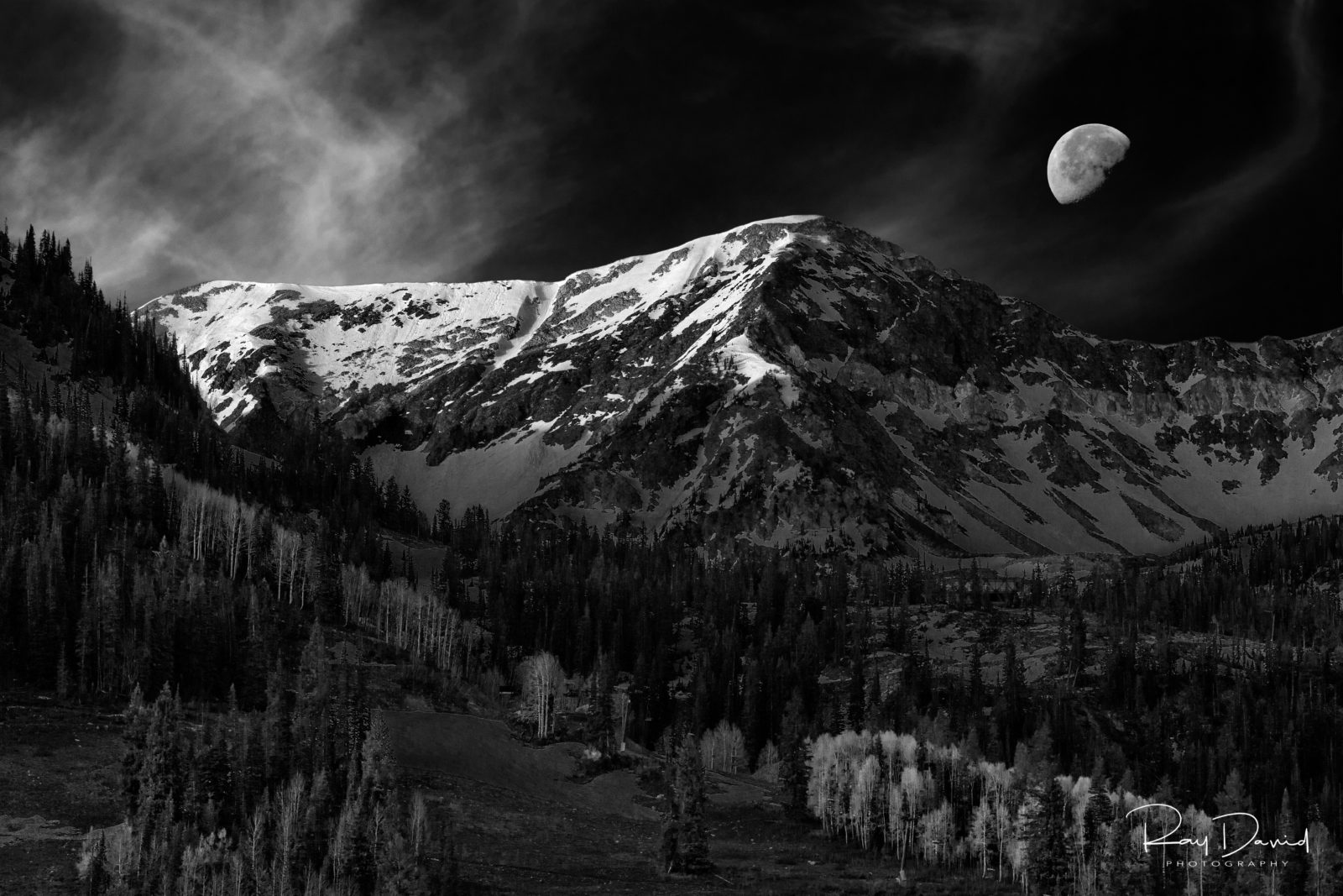Moonset over Snowbird