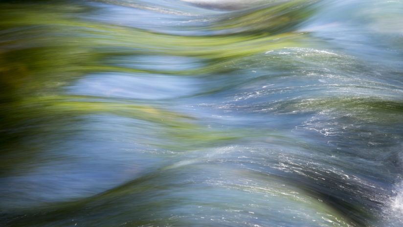 Linville River Abstract in Green and Blue