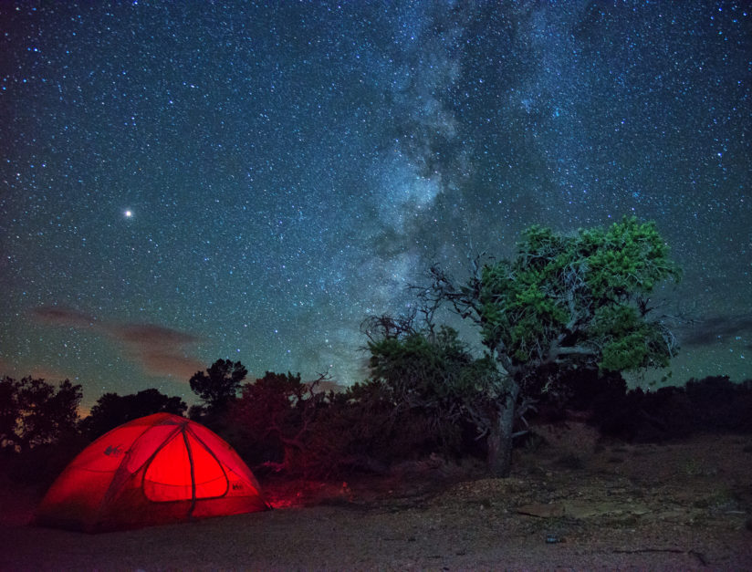 Camping a starry sky.