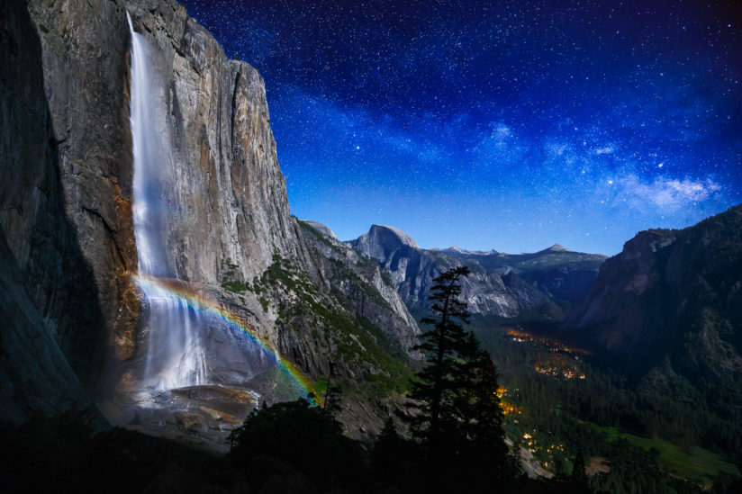 Yosemite Moonbow and Milky Way