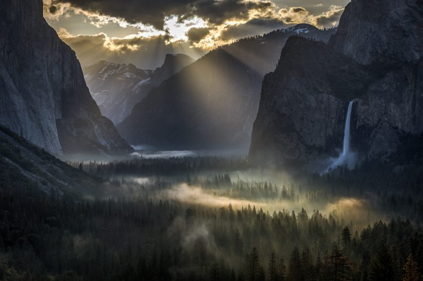 Yosemite Light Rays on Valley Fog