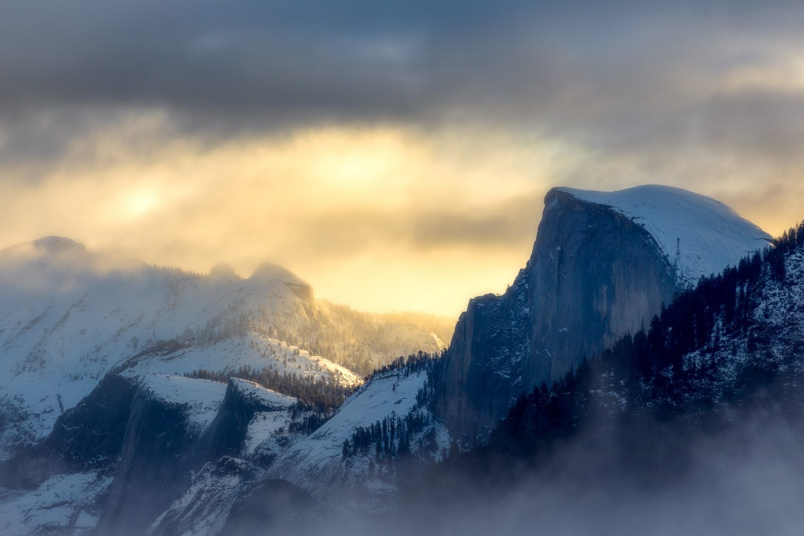 Half Dome and Clouds Rest Clearing Autumn Storm