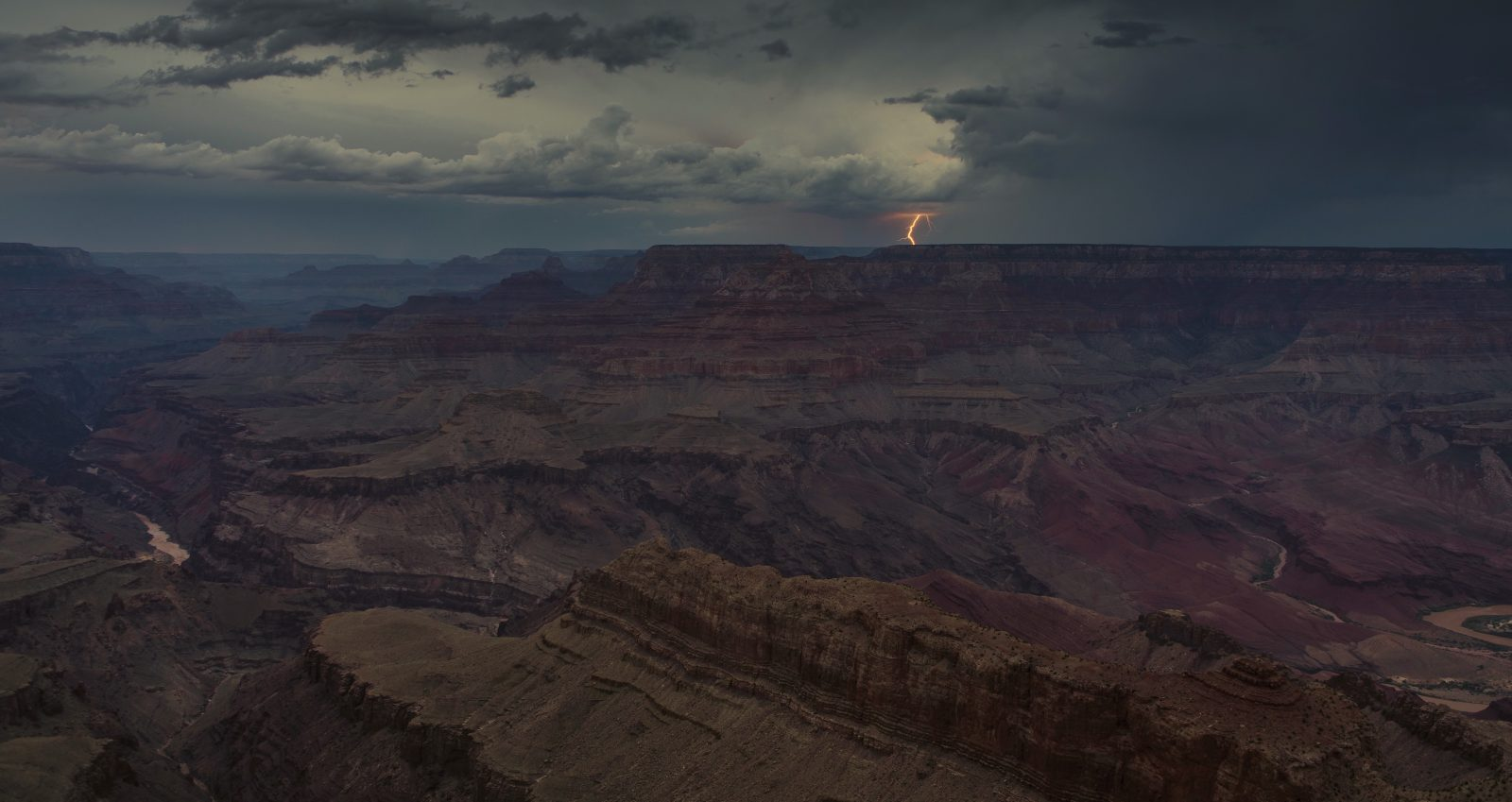 Monsoon Storm Event with Distant Lightning from Lipan Point, Grand Canyon