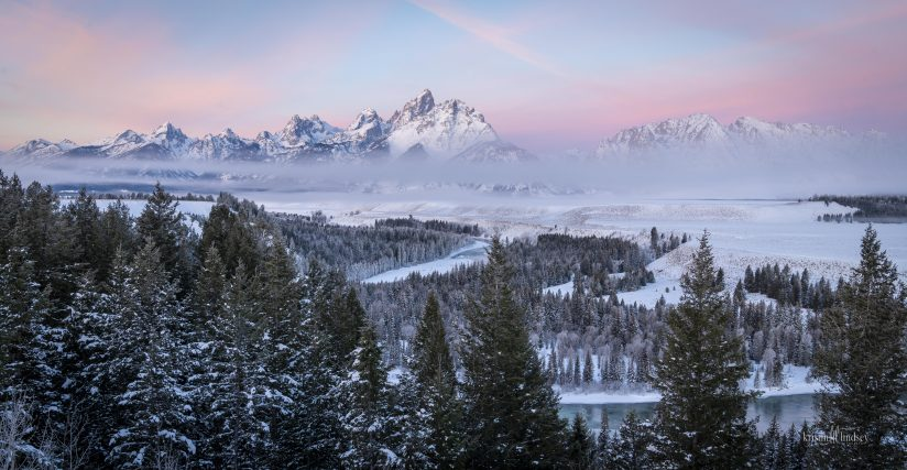 Cotton Candy Skies at Sunrise Over the Teton Mountain Range