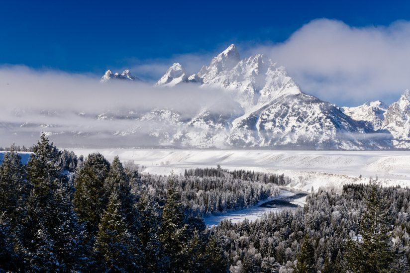 Grand Teton in the fog
