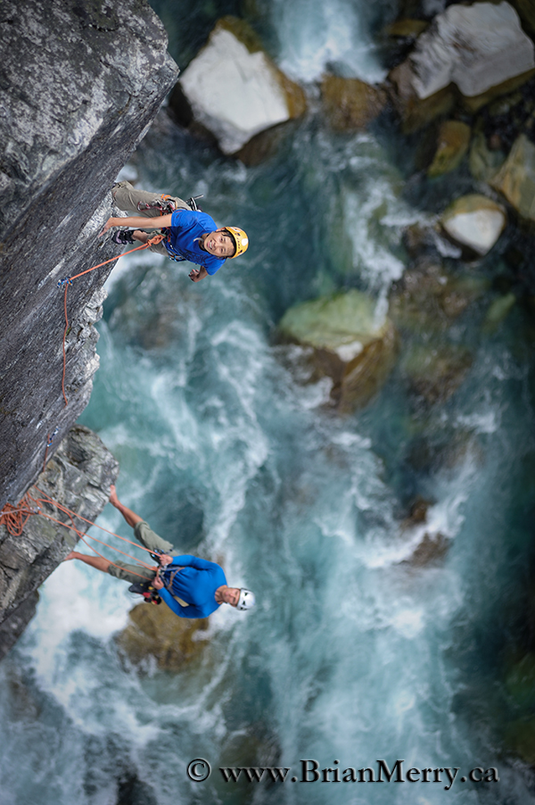 Climbers on a rock erete in the Rockies