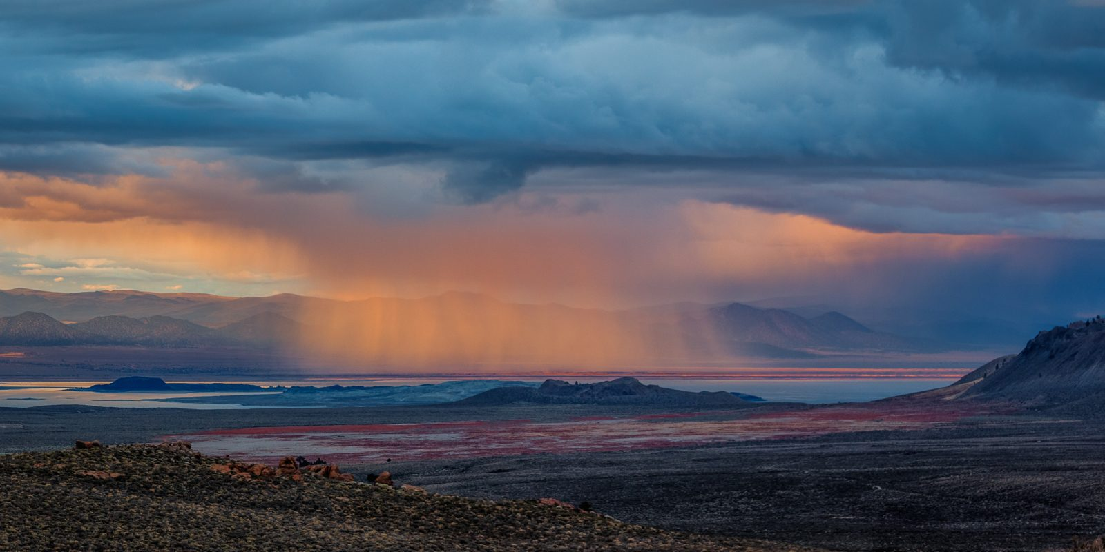 Mono Lake Spring Sunset Storm Panorama