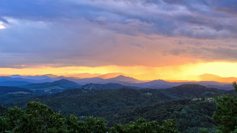 Blue Ridge Showers at Sunset