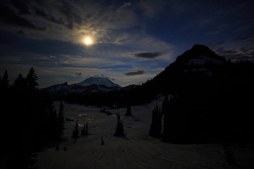 Moon Set Over Tipsoo Lake