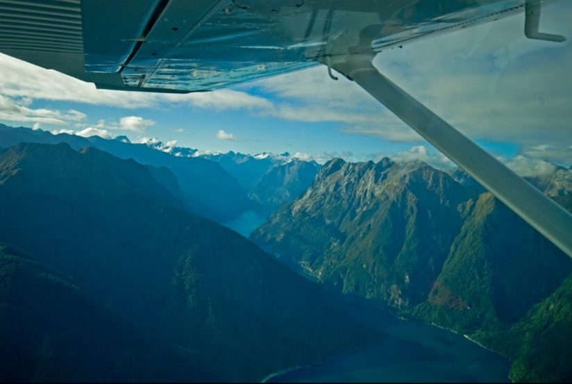 Flight out of Milford Sound
