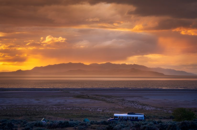 Camped for the Night, Bridger Bay, Antelope Island State Park, Utah