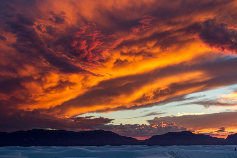 Red sky over White Sands National Monument