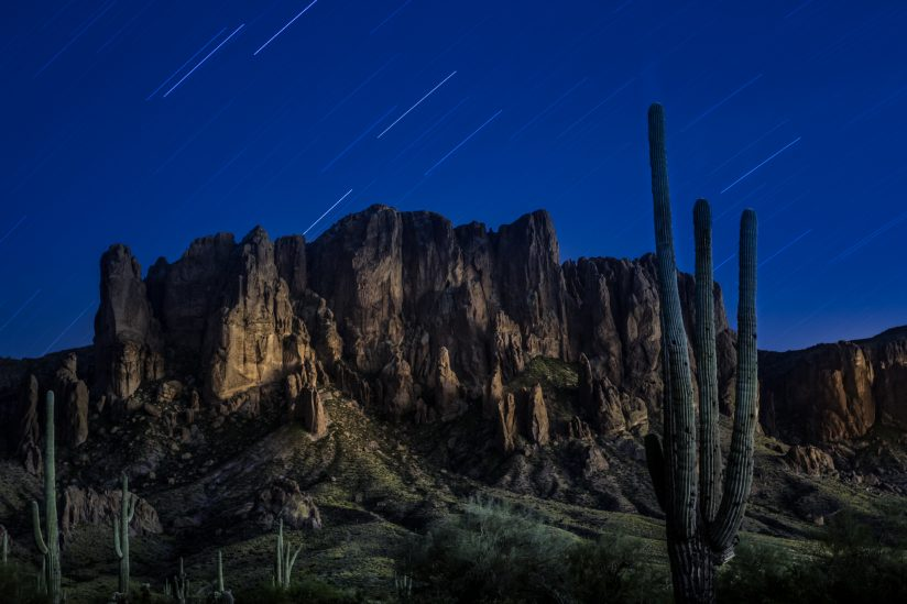 Superstition Mountain at Night
