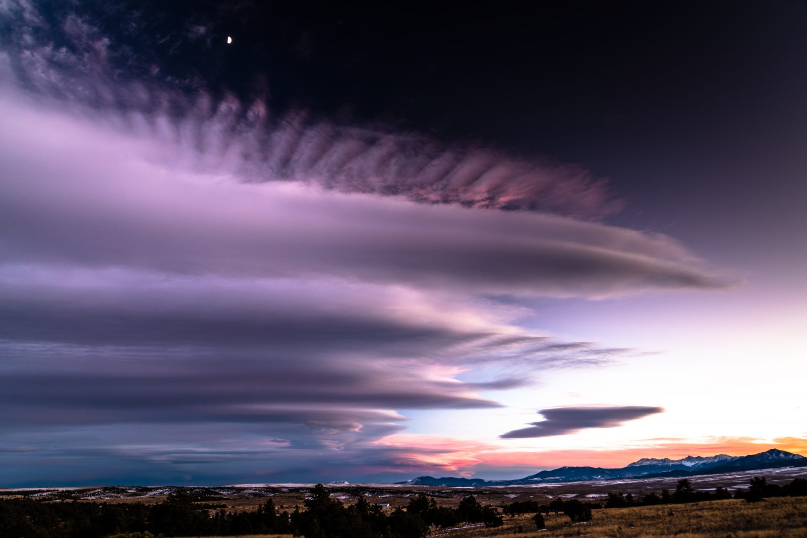 Purple Sunset Cloud and Moon