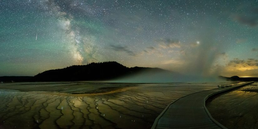 Milky Way and Airglow Over Grand Prismatic Spring
