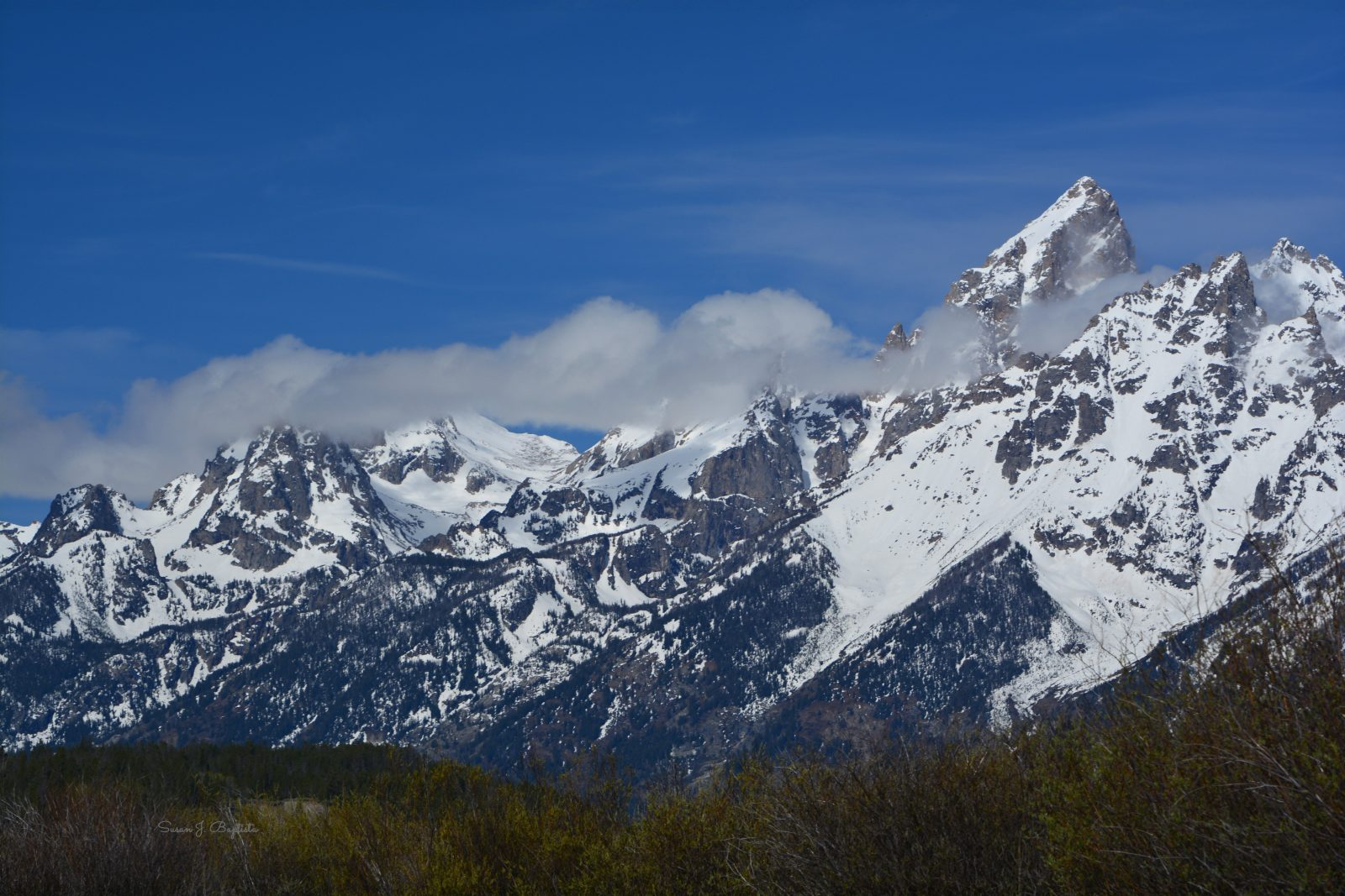 Teton Peaks Through The Couds