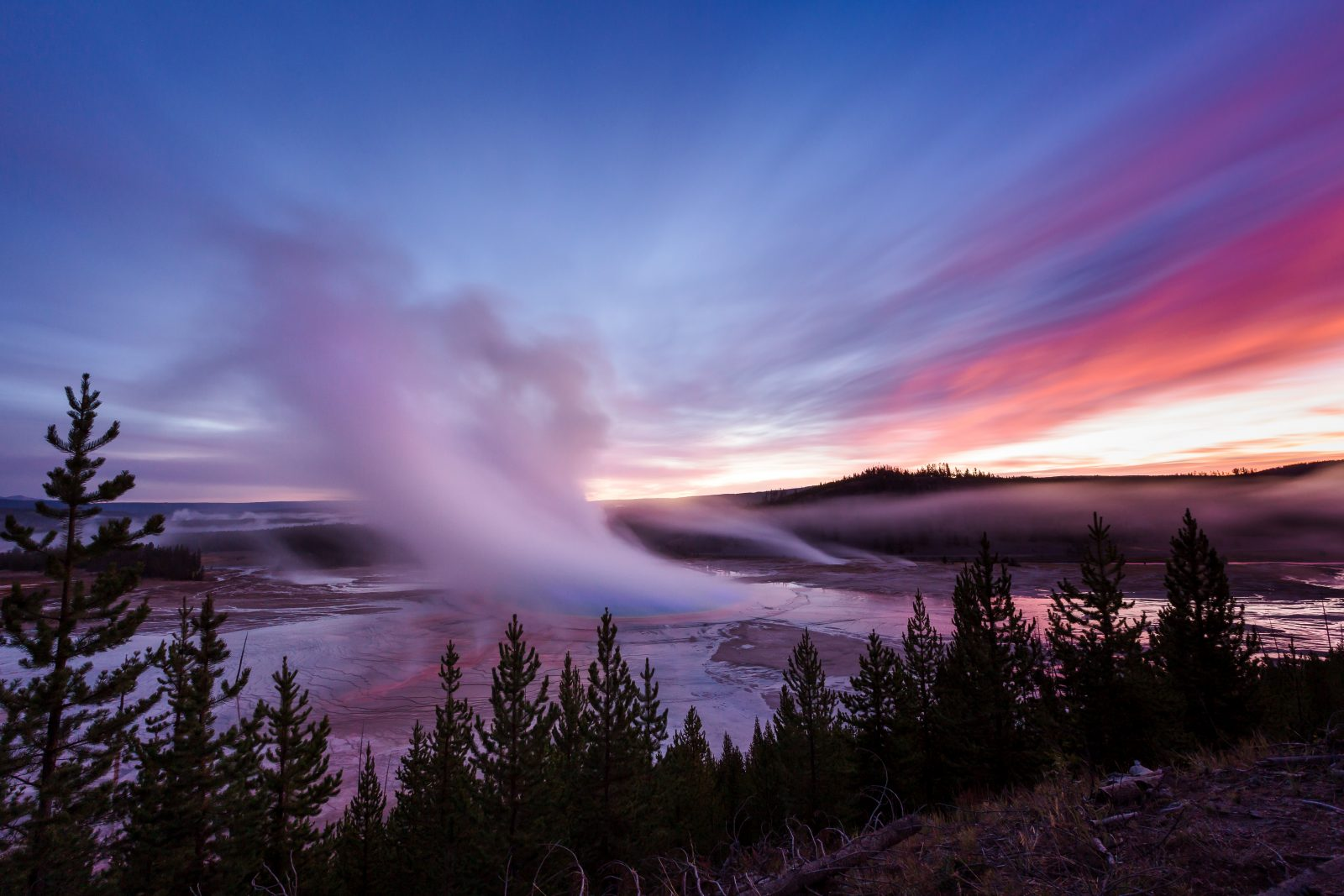 Grand Prismatic Spring from Overlook at Sunrise