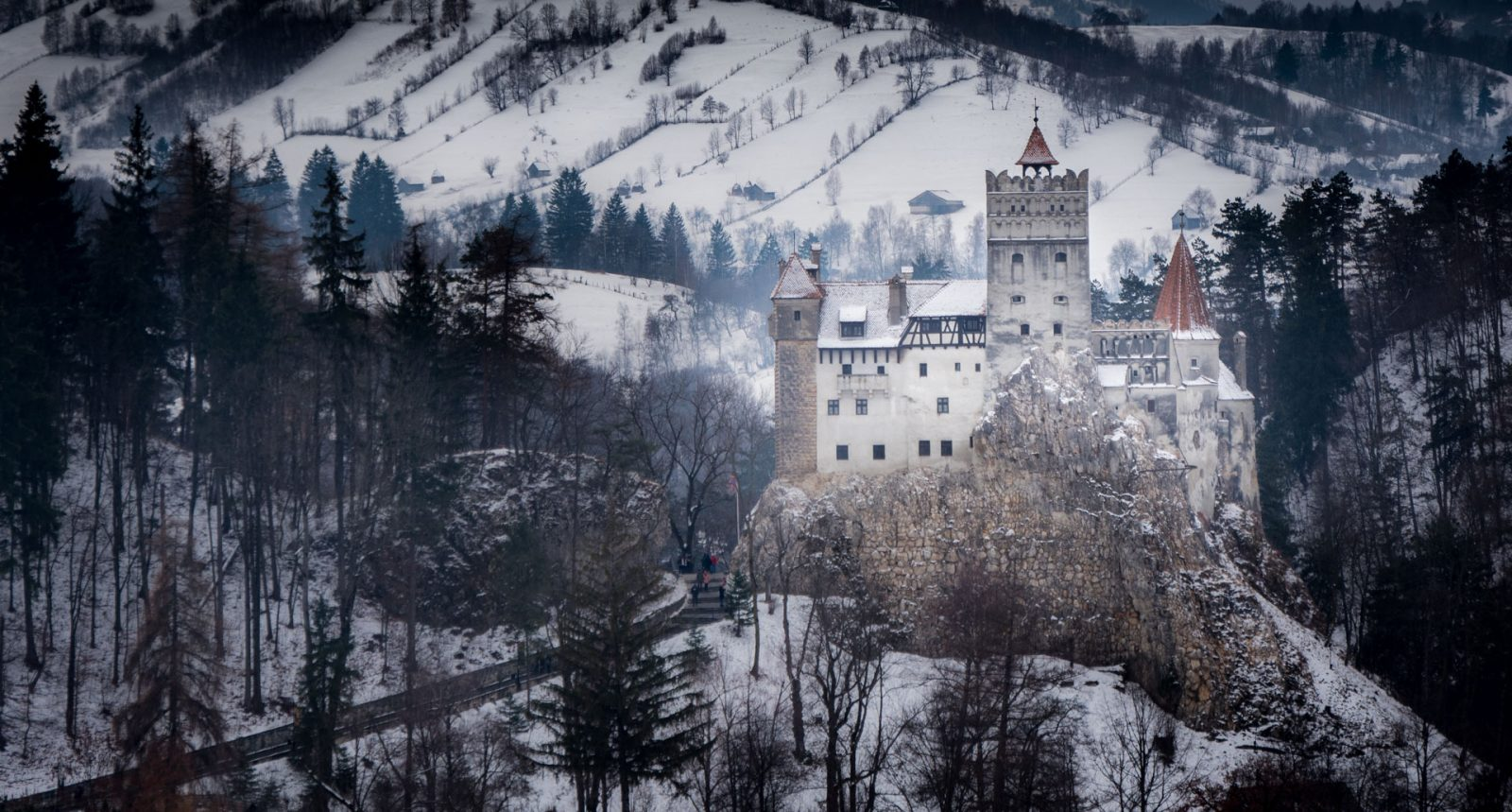Bran Castle covered in snow