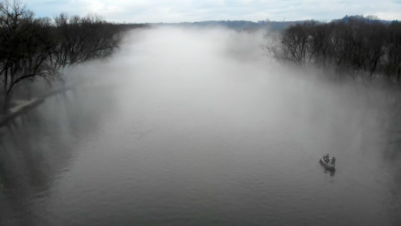 Fishing in Evaporation Fog on the Grand River