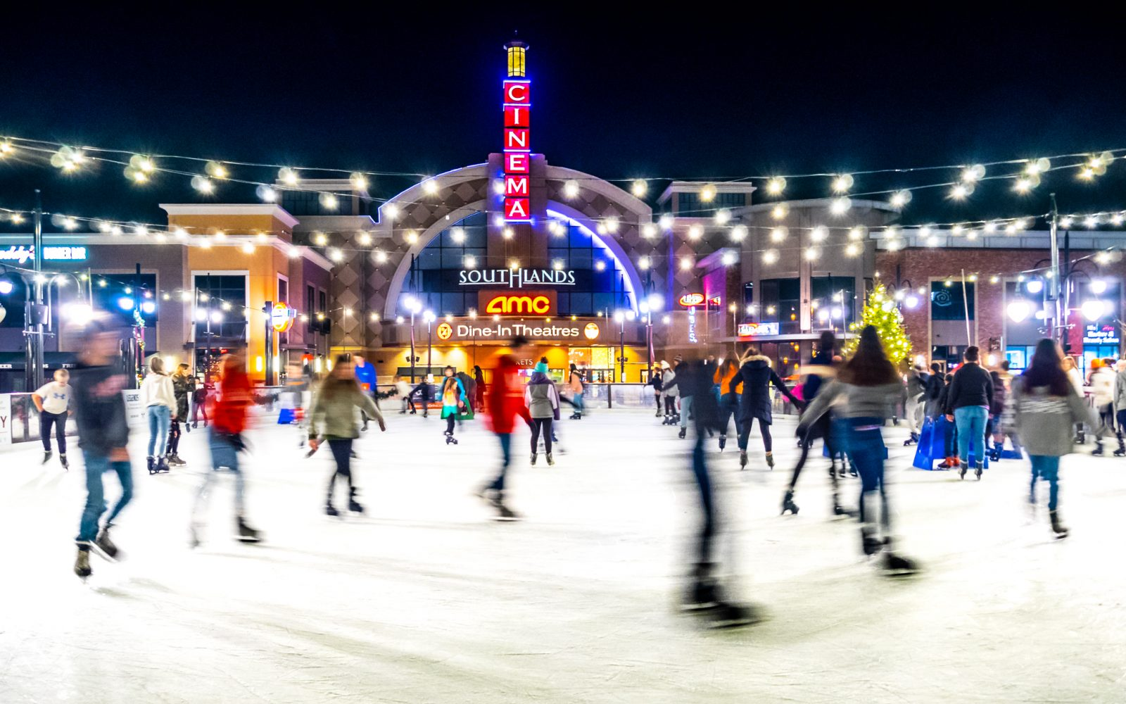 Ice Skaters on an Outdoor Rink