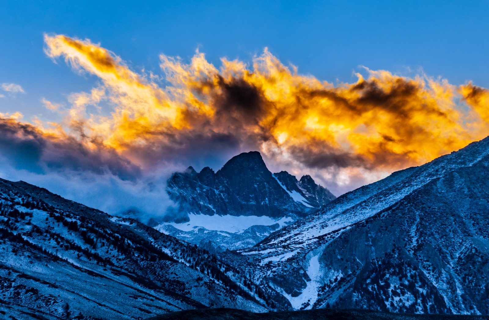 Grand Sunset Over A Fourteener Mt Sill in The Eastern Sierra